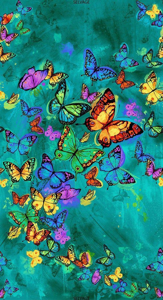 ASCENDING RAINBOW BUTTERFLIES on turquoise cotton fabric panel 23