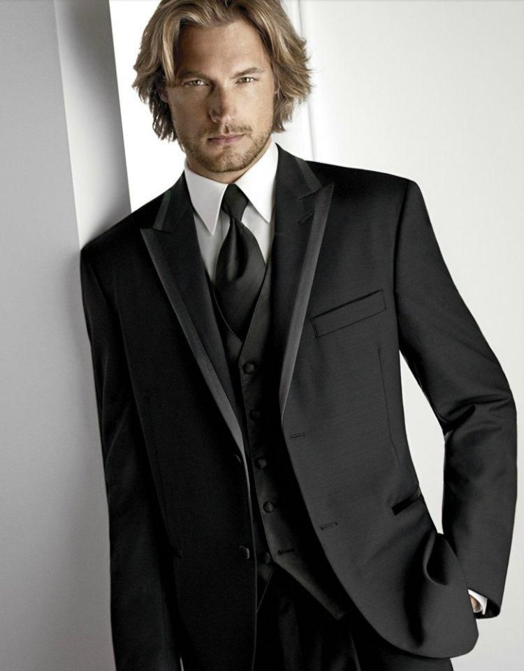 Attractive Two Buttons Black Groom Tuxedos For Wedding Peak Lapel Groomsmen Best Man Suit Mens Wedding Suits Jacket+Pants+Vest+Tie BG50331, $77.07 | DHgate.com