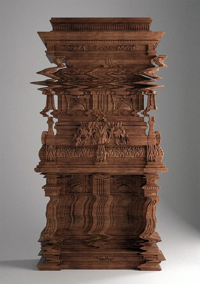 This wooden cabinet was intricately carved to look like a digital glitch.