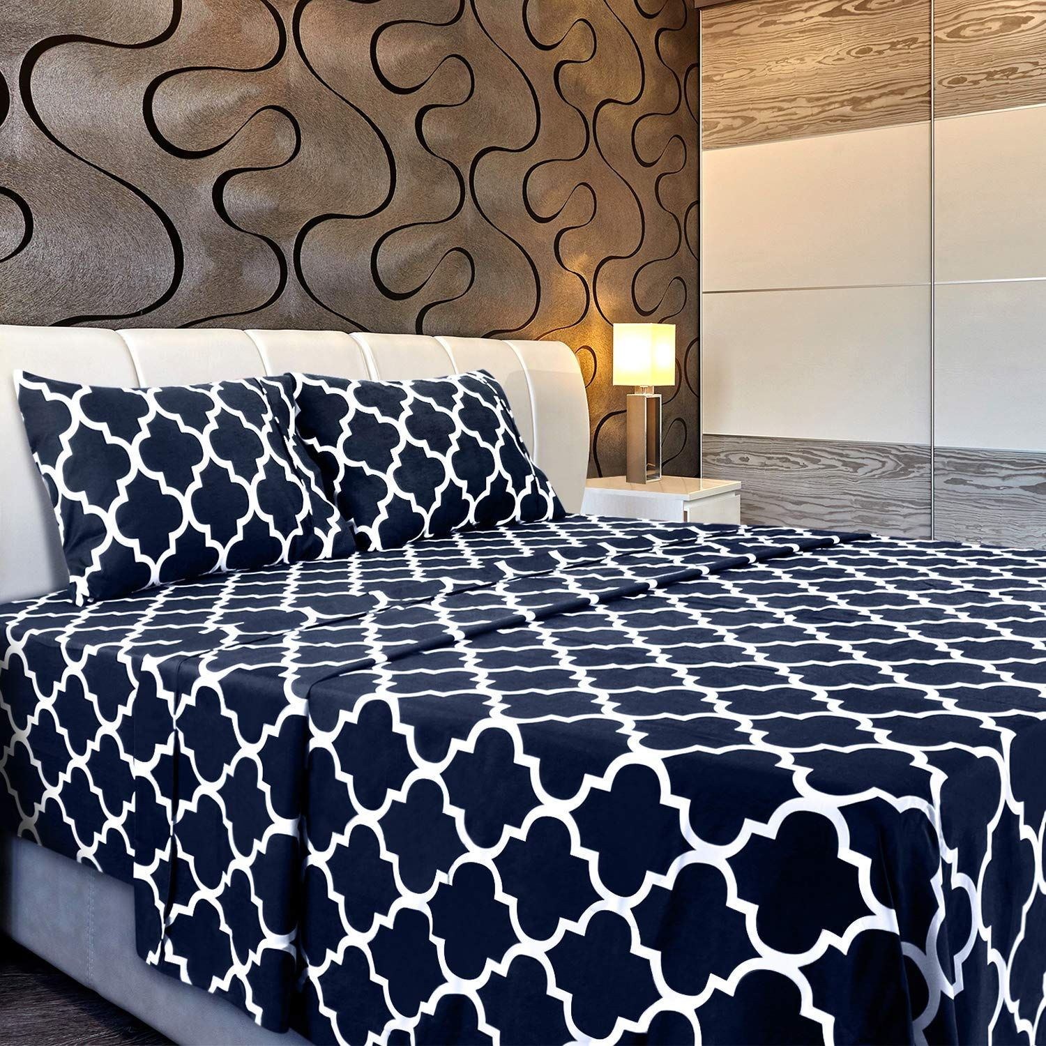 Utopia Bedding 4pc Bed Sheet Set 1 Flat Sheet 1 Fitted Sheet And 2 Pillowcases Queen Navy Bed Sheet Sets Bed Sheets Best Bed Sheets