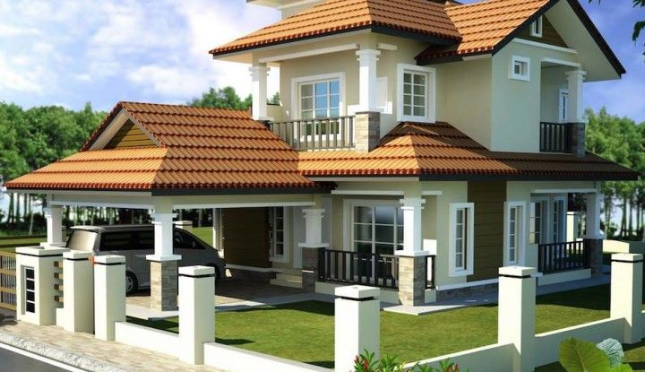 Double Storey Bungalow House With Plan House Front