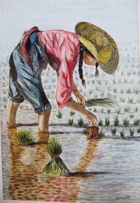 Watercolor Paintings Of Asian Women At Work Painting Female Art