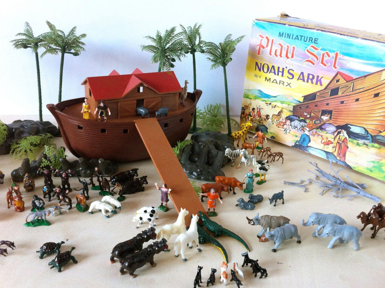 Vintage Noah S Ark Miniature Plastic Play Set By Marx Toys In