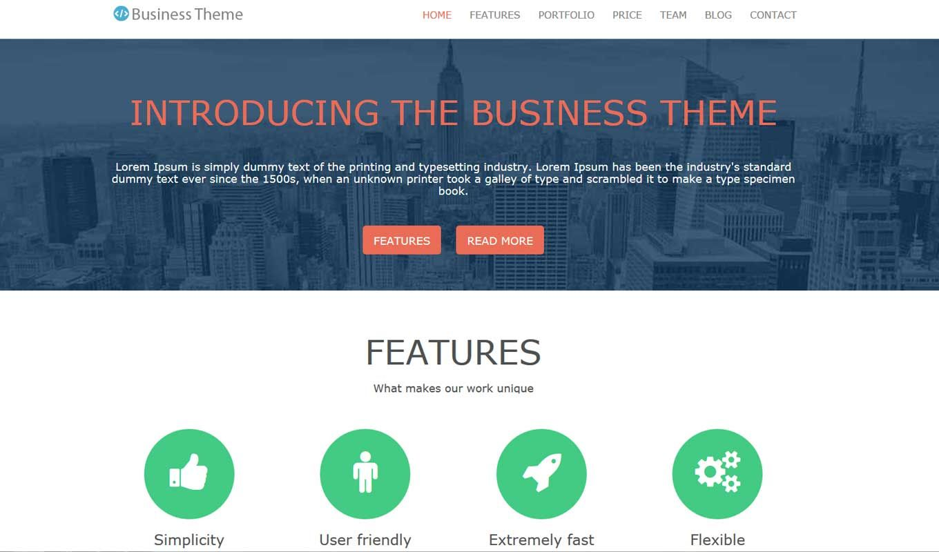 Free Bootstrap Business Professional Theme - Smooth Scroll