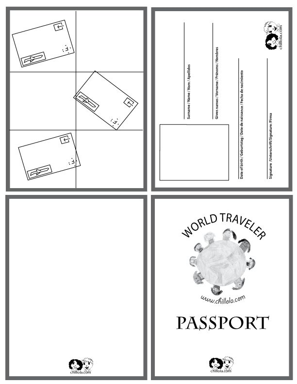 Around The World Camp Theme Passports For Kids Passport Template World Thinking Day