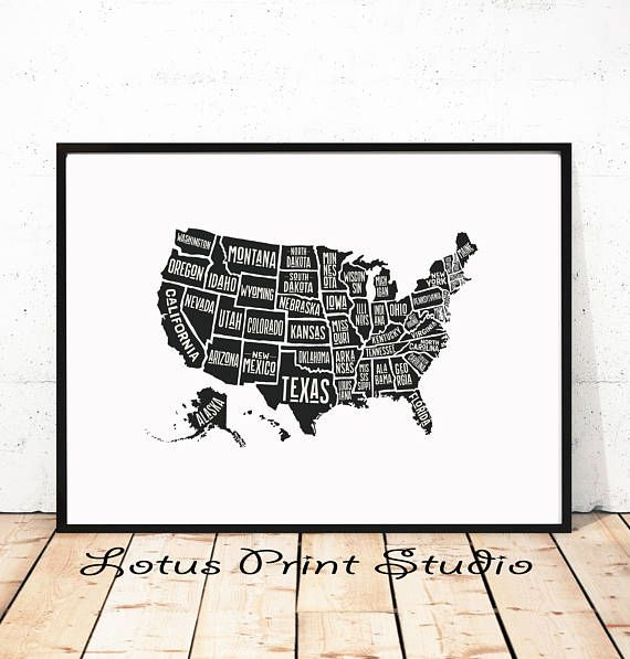 United States Map Print Us Map Usa Poster All States Named - Print-us-map
