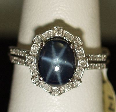 Blue Star Sapphire Ring 3.5ct Natural + .15ct Diamonds in Solid 14K White Gold
