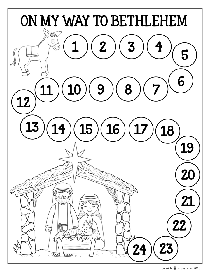 Free advent calendar travel with the little donkey each for Free advent calendar coloring pages