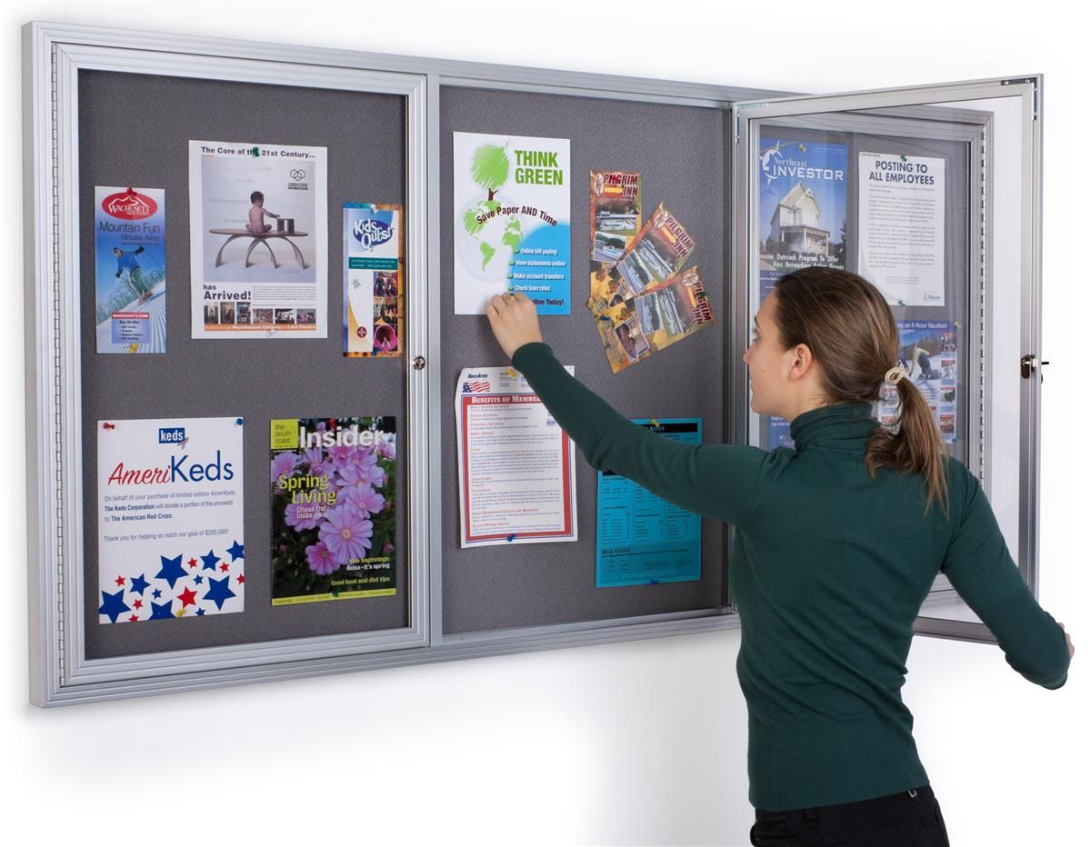 72 X 36 Enclosed Bulletin Board With 3 Locking Doors Silver With Gray Fabric Grey Fabric Poster Case Fabric