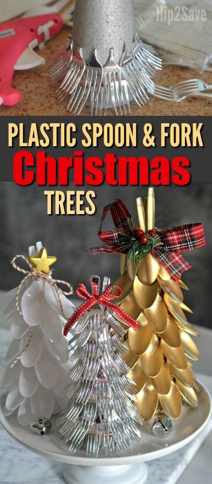 Plastic Spoon & Fork Christmas Trees (Easy Dollar Store Christmas Centerpiece Idea) - Hip2Save