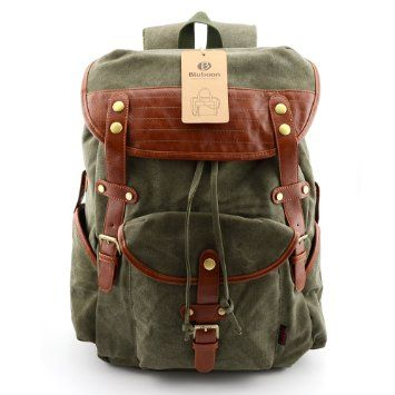 BLUBOON(TM)backpacks Vintage Leather Backpack Casual Canvas Hiking ...