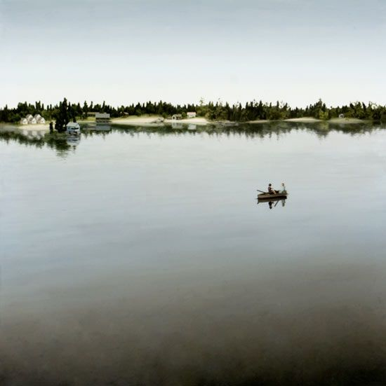 idyllic -- people tiny in scale to nature, still waters, houses isolated Painting by Amy Bennett