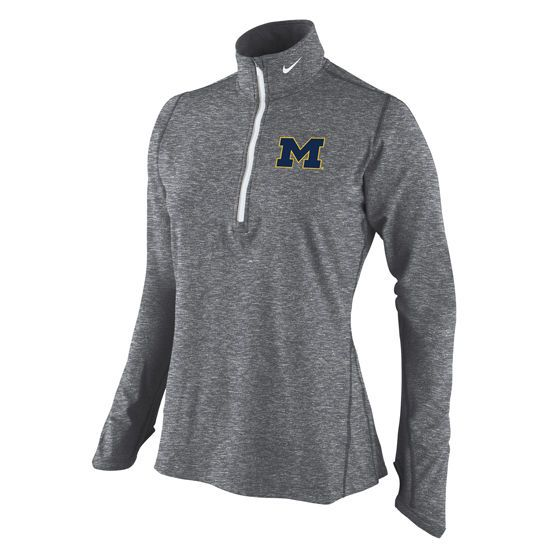 New Arrivals Nike University of Michigan Ladies Heather Gray Element 1/4  Zip Top