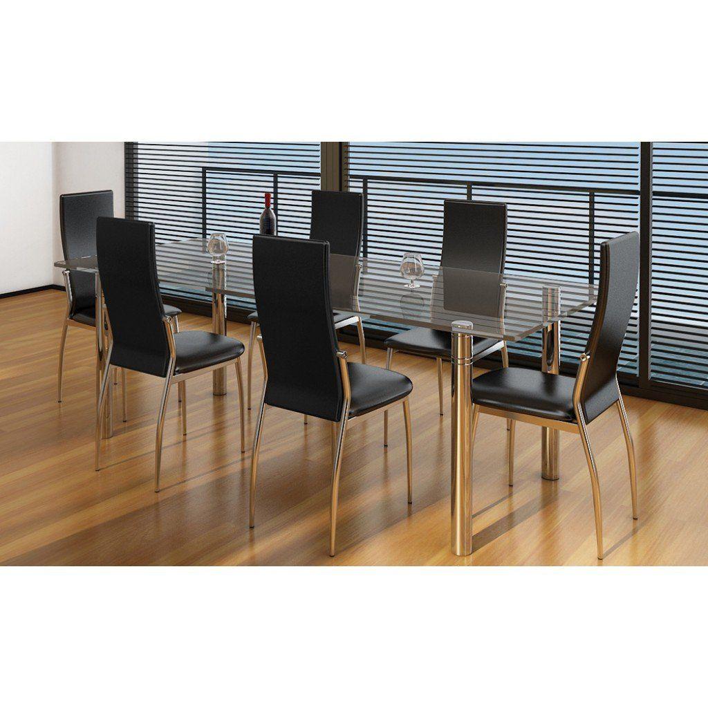 Chaises salon cuisine aluminium cuir noir ou blanc Réf. Ulysse sur