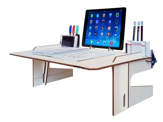 Laser cut wood bed desk laptop desk wood tablet stand desk for Organiser un stand