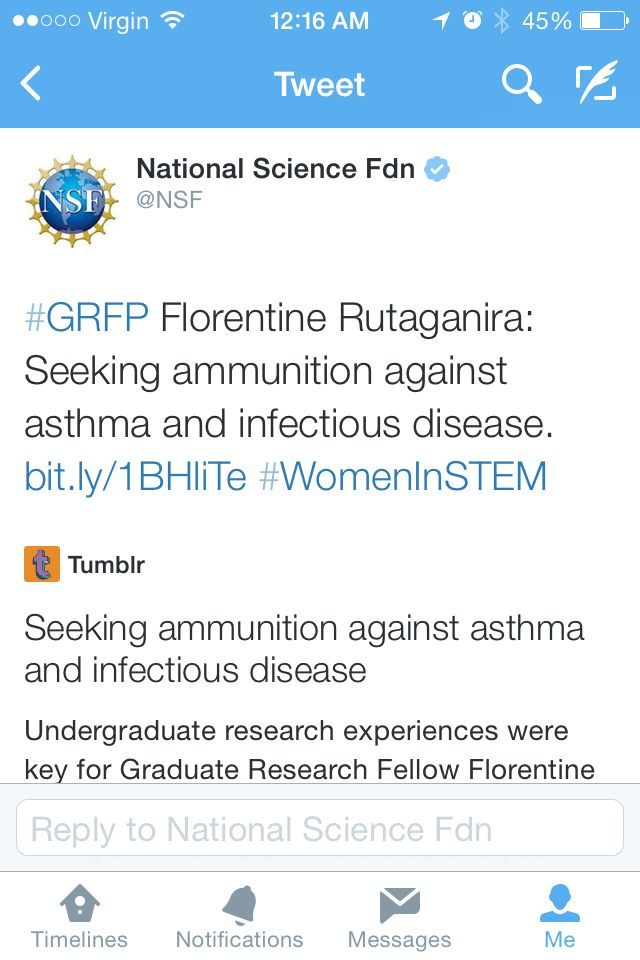 I'm featured in the #NSF #GRFP #womeninstem month!