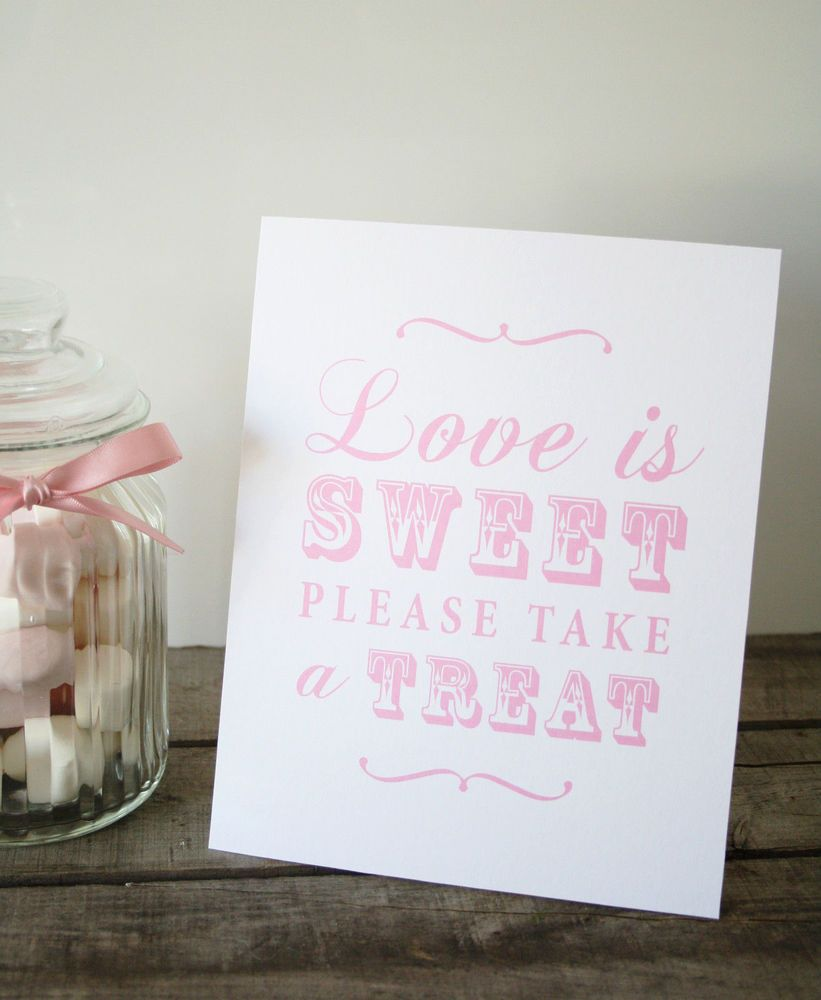 Shabby Chic Vintage Candy Buffet Sign Bar Sweets Table