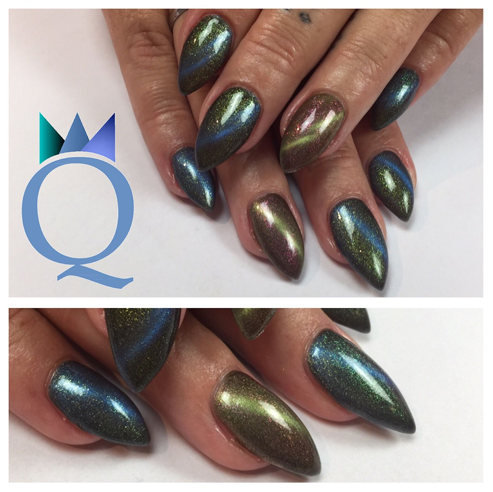 Stilettonails Gelnails Nails Blue Green Cateye Stilettos