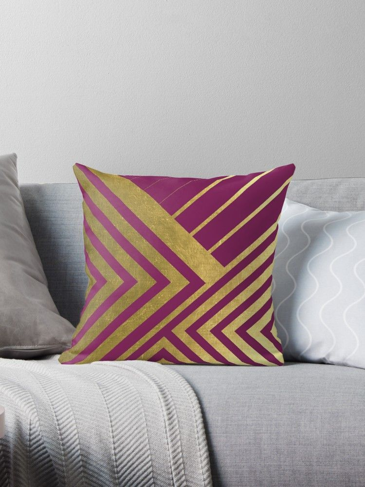 Magenta And Gold Geometric Luxe Throw Pillow Throw Pillows Pink Cushions Throw Cushions