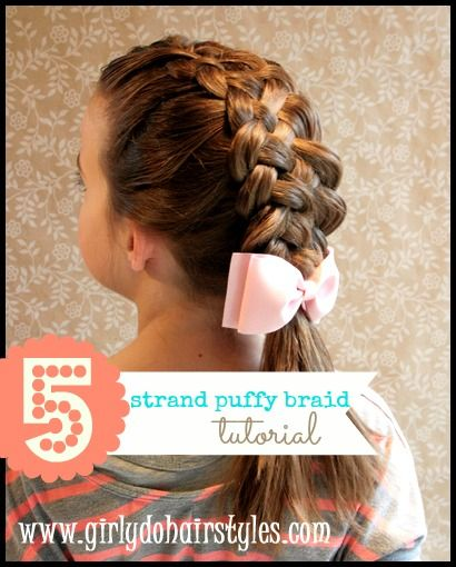 Five Strand Puffy braid tutorial by www.Girlydohairstyles.com featured on www.skiptomylou.org
