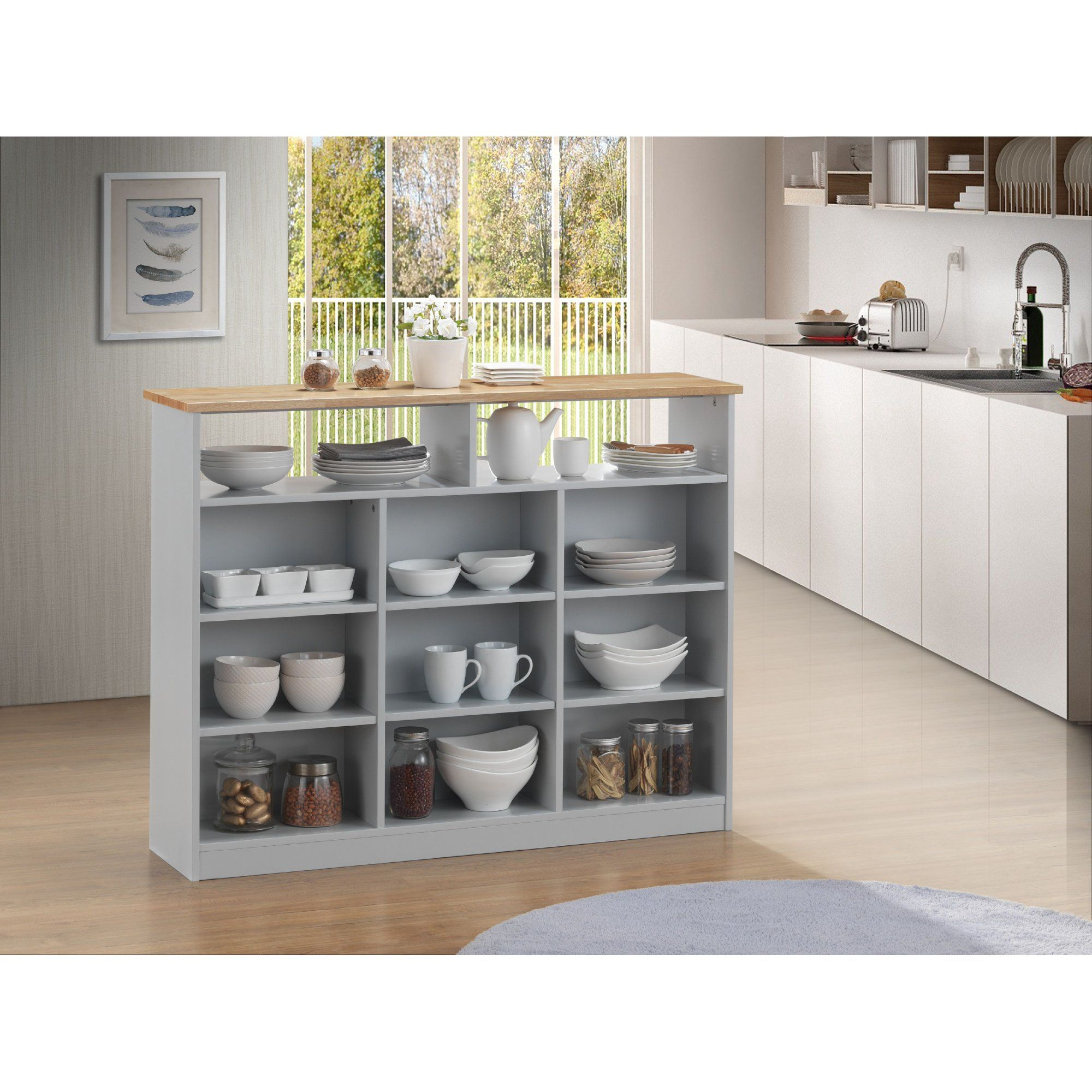 Acme Jorim Kitchen Cart With Wooden Top In Natural And Gray Walmart Com In 2020 Small Apartment Kitchen Portable Kitchen Island Kitchen Cart