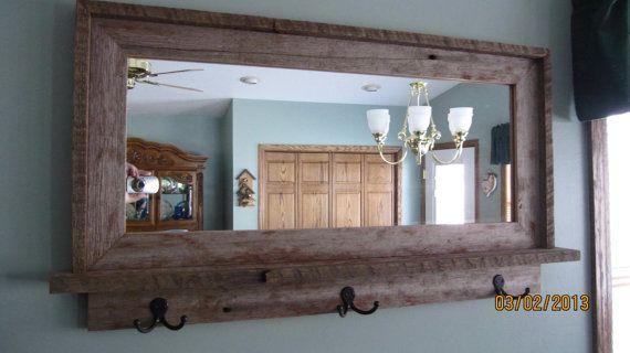Barnwood Mirrors Barnwood Window Mirror With Shelf Hooks By