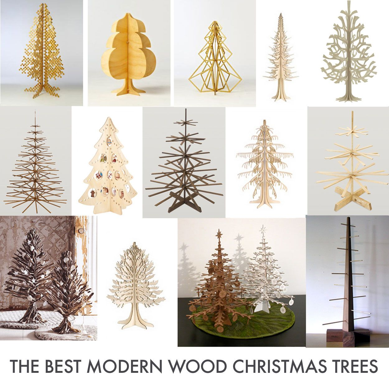 White Modern Christmas Trees Decorated - Flat pack felt plywood christmas tree inspiration