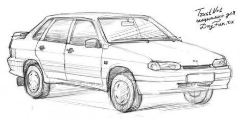Как нарисовать ВАЗ 2115 карандашом | Рисунок карандашом ...
