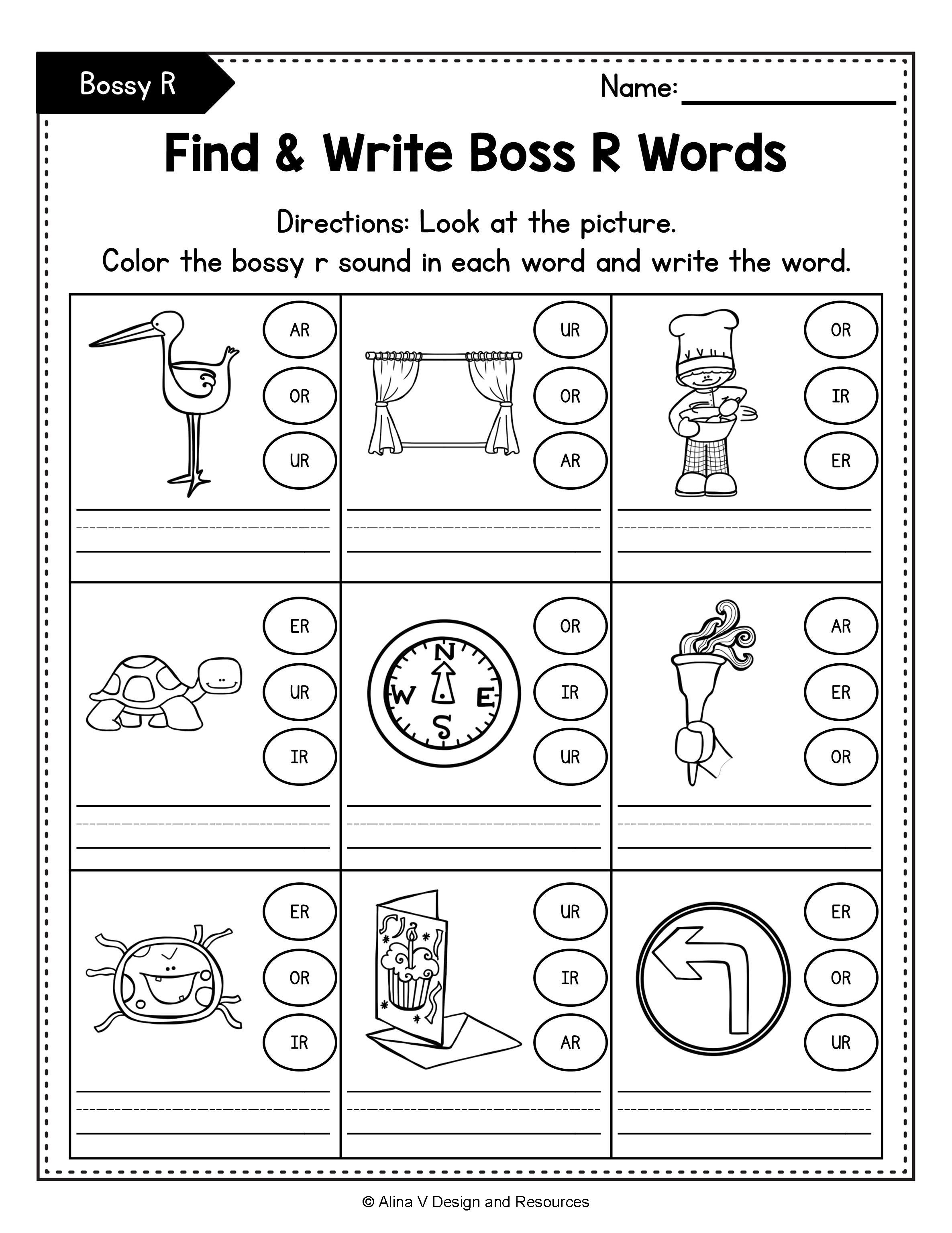 R Controlled Vowels Worksheets Mega Bundle Bossy R