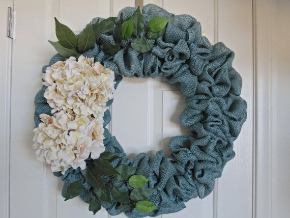 Burlap Wreath, Turquoise Burlap Wreath, blue wreath, Door Wreath, Any Season Wreath, Romantic Wreath, Springtime Wreath, Summertime Wreath