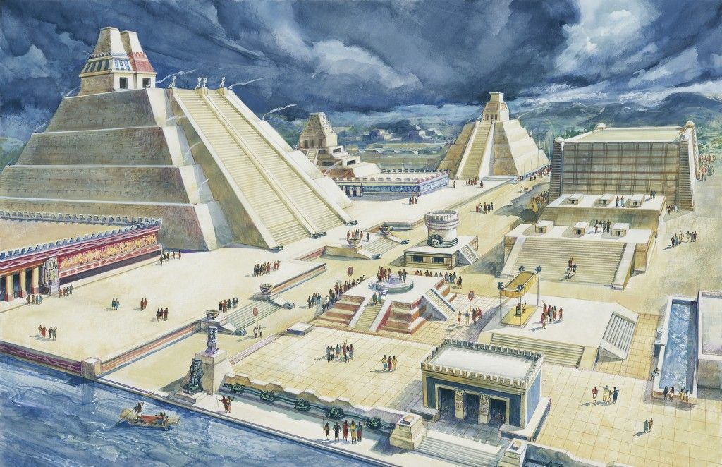 Clouds over pyramids, circa 15th Century, Templo Mayor, Tenochtitlan, Mexico City, Mexico