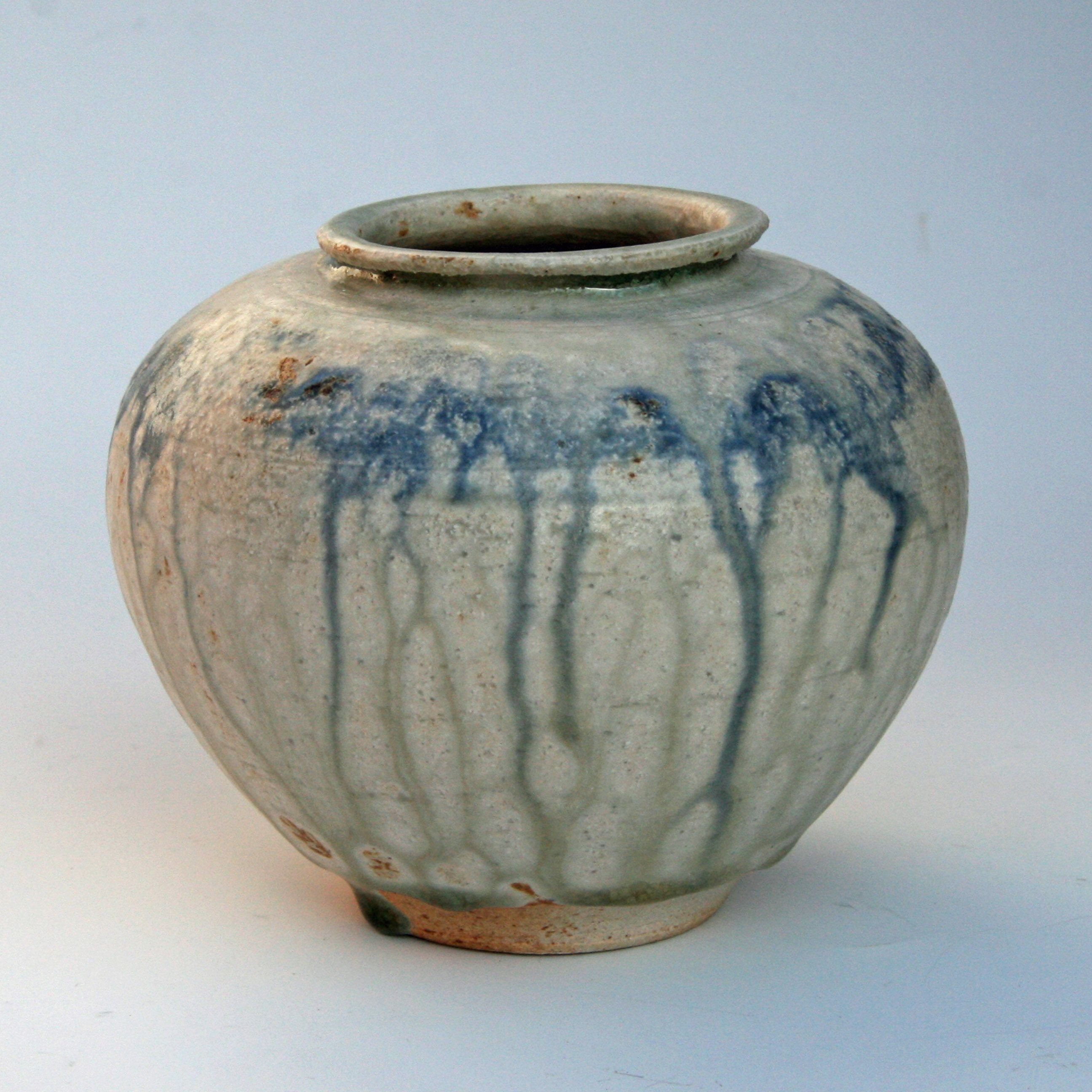 Alan Birchall Stoneware Jar With Blue Pigment And Apple