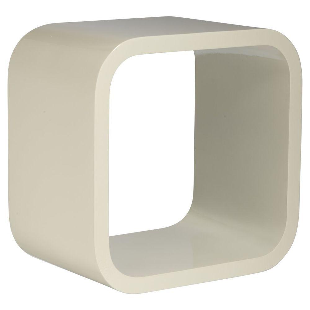 Round Edge Storage Cube Floating Shelf White 30 X 30 X