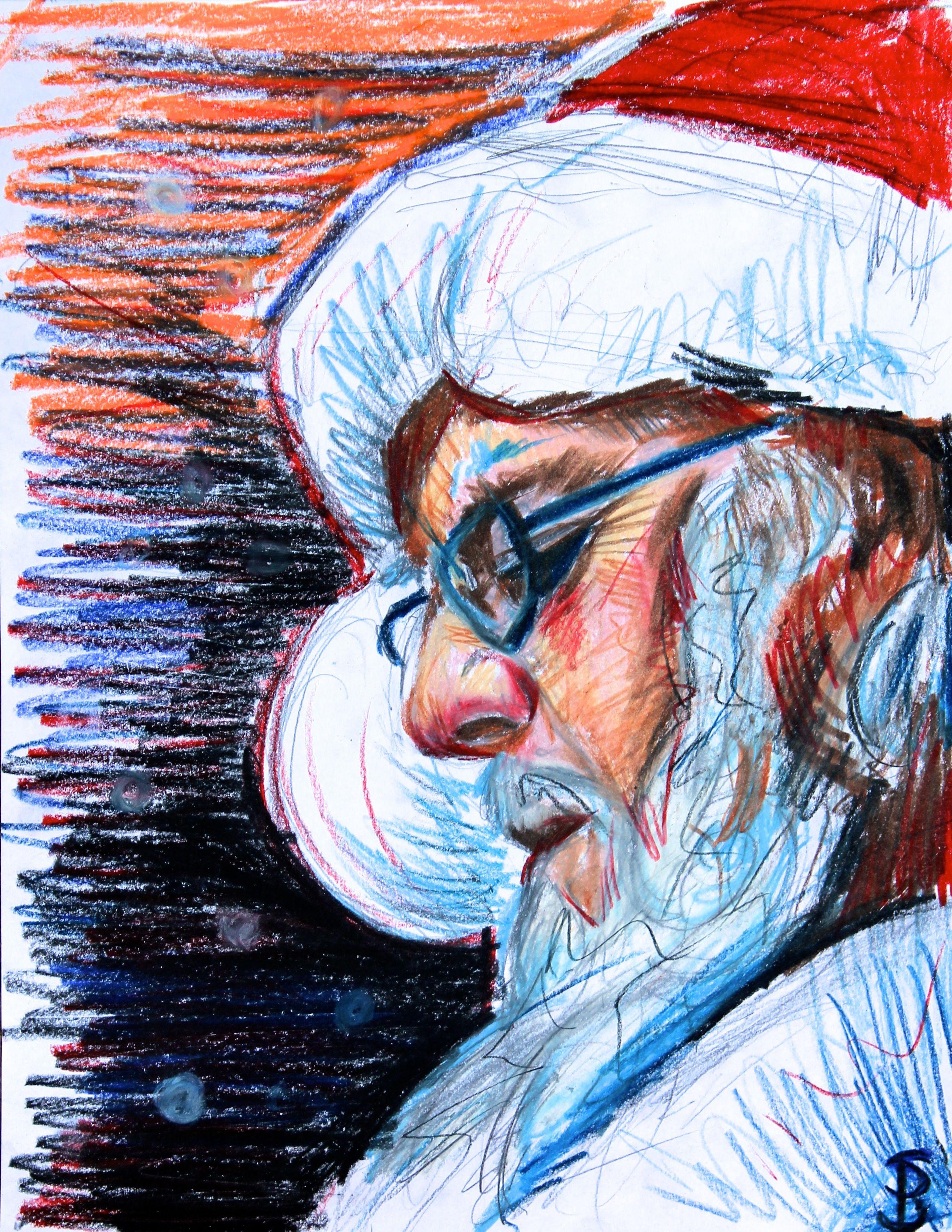 Santa sketch colored pencil drawing by skyler brown