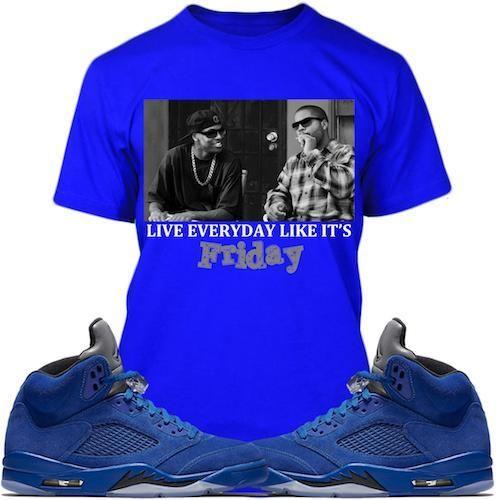 07a06eff5b1 Jordan Retro 5 Royal Blue Suede Sneaker Tees Shirt - FRIDAY ...