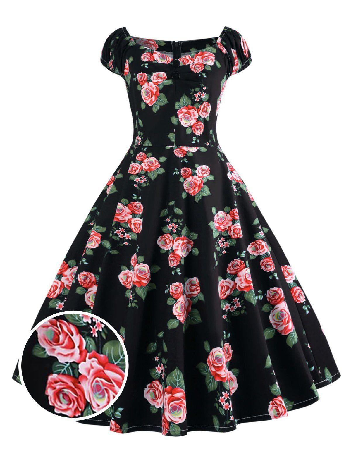 1950s Inspired Rose Swing Dress Plus Size Vintage Dresses Vintage Red Dress Vintage Dresses [ 1600 x 1200 Pixel ]