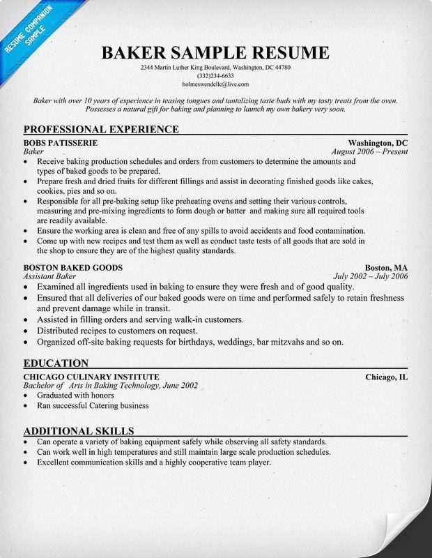 Resume Examples Baker Resume Sample Career Change Resume Sample Resume Resume