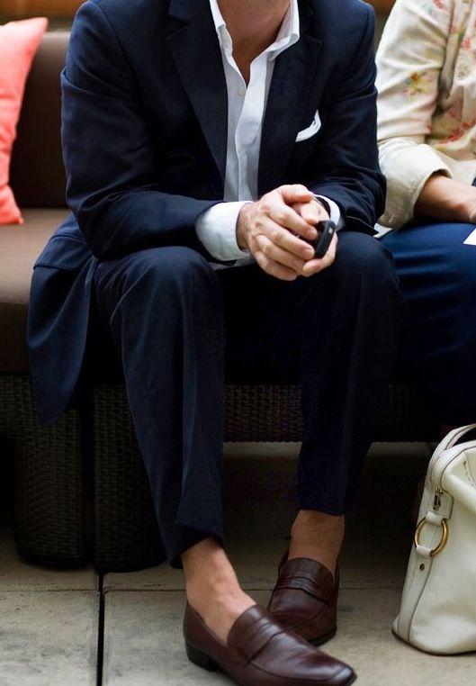 menswear - a navy suit, oxblood loafers