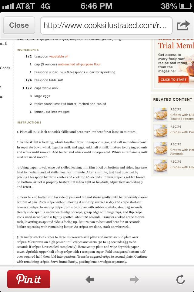 Crepe with lemon ~ America's test kitchen
