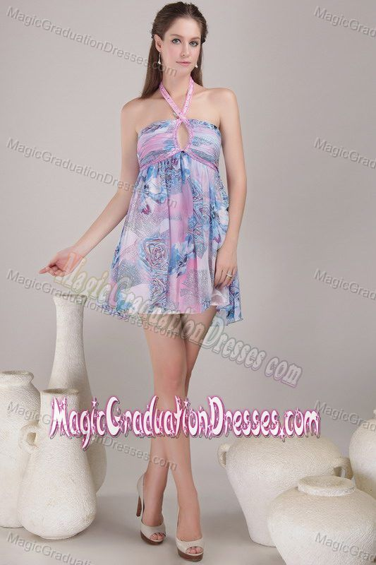 aea9e1c5a74 Buy multi color halter mini length graduation dress with printing and  keyhole from modern graduation dresses collection