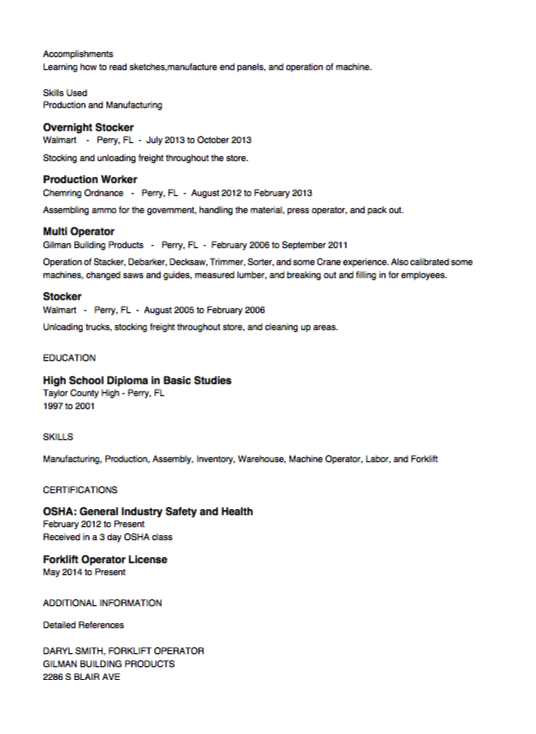 Stocker Resume Example resumesdesignstockerresume – High School Diploma on Resume Examples