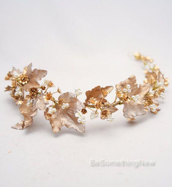 Gold böhmische rustikale Hochzeitskranz Braut Krone Kopfschmuck von Golden Babys Atem und Blattgold Blumenkrone Blatt Stirnband Boho Hochzeit #crownheadband