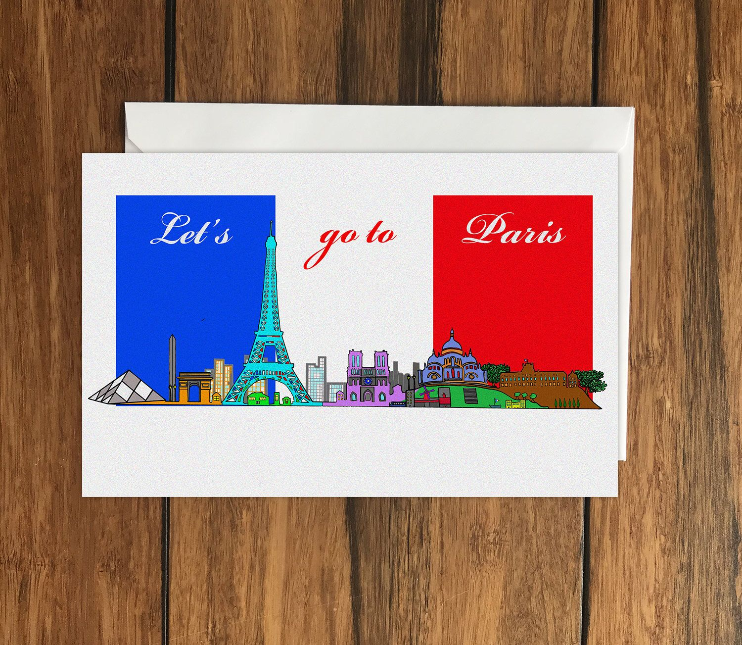 Lets Go To Paris Holiday Gift Idea Greeting Card A6 Cellophane