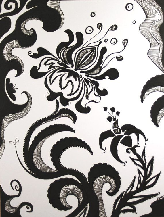 Retro Flower Art Drawing . Black and White Art by blueskybeads on etsy