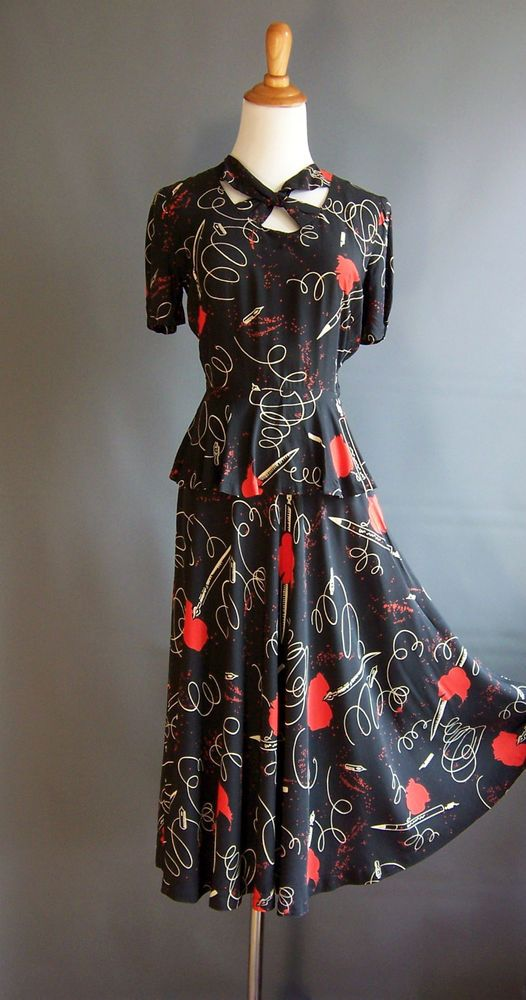 1940s Novelty Print Dress Pen Ink Blood Fabric Same As 1946 Schiaparelli Peplum