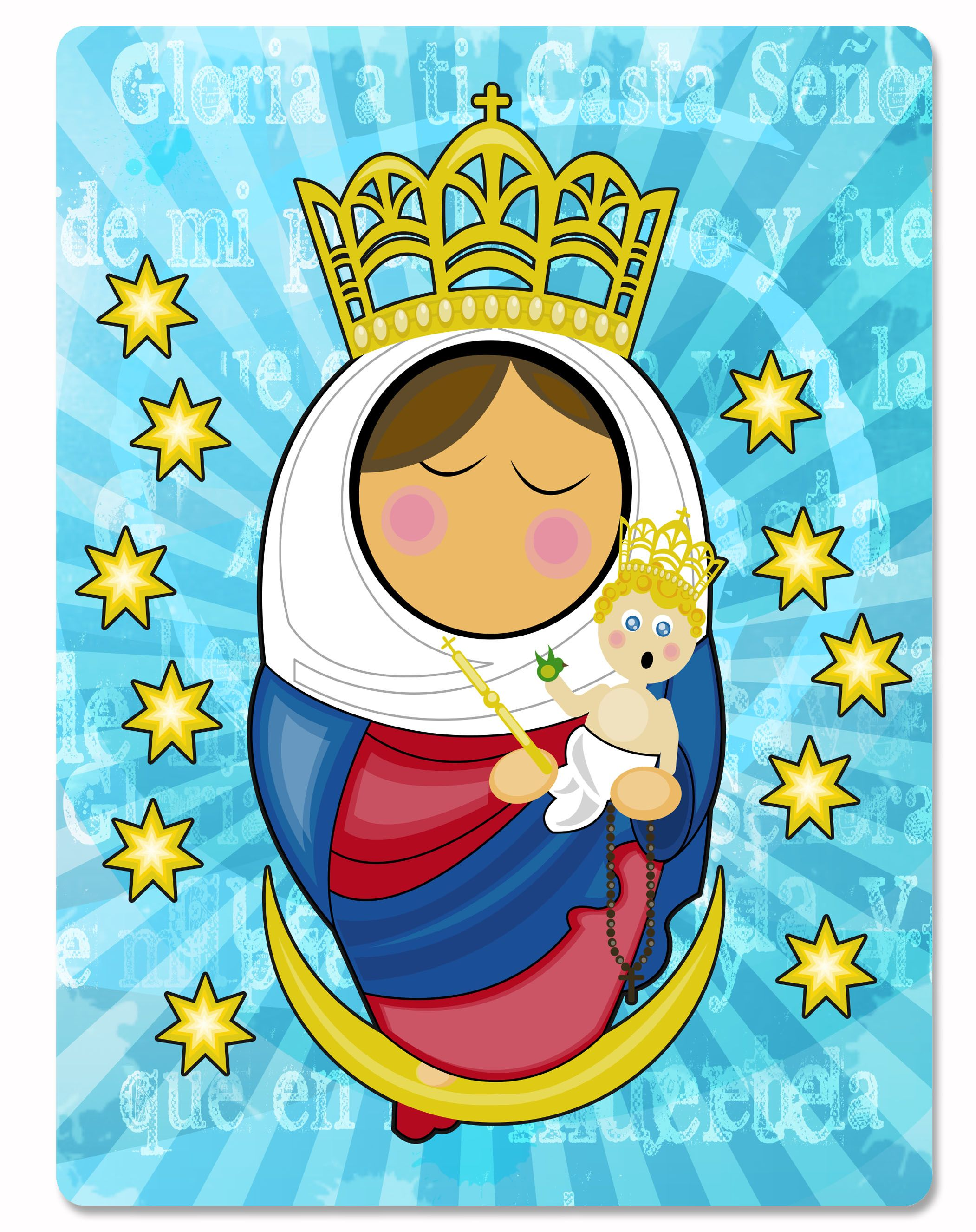 Ilustraciones realizadas en Adobe Illustrator y Photoshop. Diseño de la Virgen de Chiquinquirá.