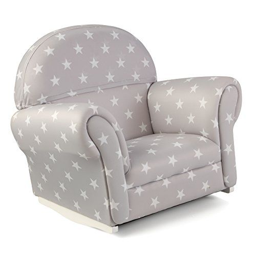Kidsu0027 Rocking Chairs   KidKraft Upholstered Rocker With Slip Cover Toy Gray  With White Polka