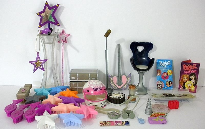 Large Lot Of Bratz Doll Accessories Brushes Salon Items Guitar