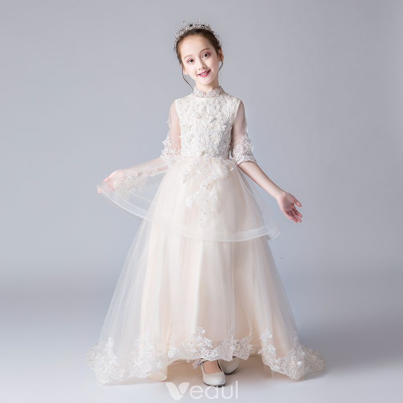 0bffbcbe5c7e Chinese style Champagne Flower Girl Dresses 2019 A-Line   Princess ...
