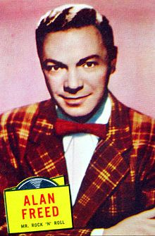 "Albert James ""Alan"" Freed (December 15, 1921 – January 20, 1965), also known as Moondog, was an American disc jockey. He became internationally known for promoting the mix of blues, country and rhythm and blues music on the radio in the United States and Europe under the name of rock and roll. His career was destroyed by the payola scandal that hit the broadcasting industry in the early 1960s."